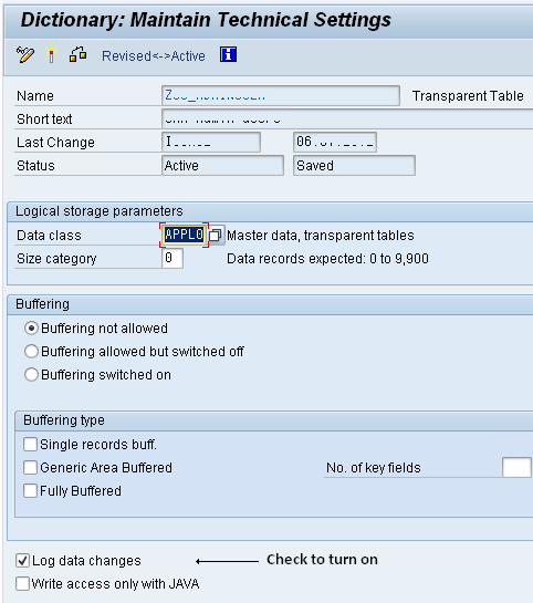 SAP Database change logs can instantly be turned on to capture table