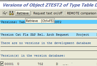 Recover deleted SAP object using transport entry