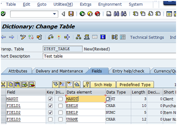 Create SAP database table with se11