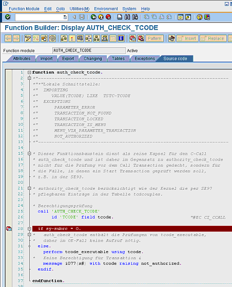 authorization code in sap
