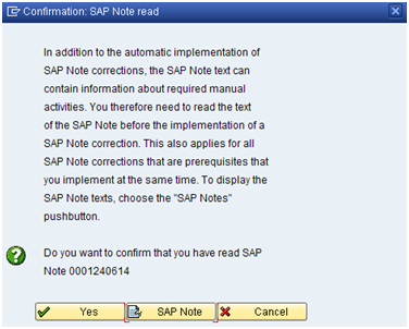 Implementing notes via SPAU transaction during Patching