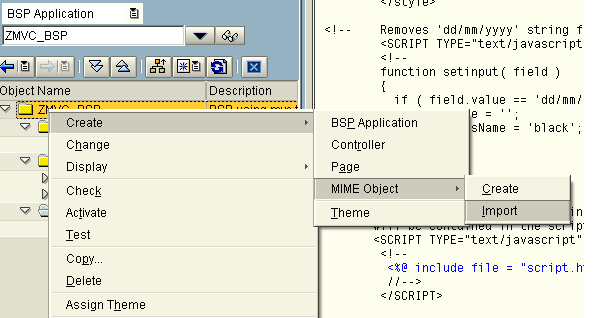 Adding a JavaScript date selection field to a SAP BSP - ABAP